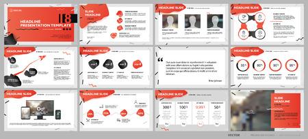Elementy szablonów prezentacji czerwony na białym tle. Infografiki wektorowe. Zastosowanie w prezentacjach, ulotkach i ulotkach, raportach korporacyjnych, marketingu, reklamie, raporcie rocznym, banerze. Ilustracje wektorowe