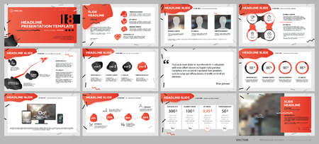 Red presentation templates elements on a white background. Vector infographics. Use in Presentation, flyer and leaflet, corporate report, marketing, advertising, annual report, banner. Ilustração