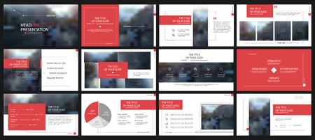 빨간색 프레 젠 테이 션 흰색 배경에 요소를 템플릿. 벡터 infographics. 프레 젠 테이션, 전단지 및 전단지, 기업 보고서, 마케팅, 광고, 연례 보고서, 배너에 사용하십시오. 스톡 콘텐츠 - 89053277