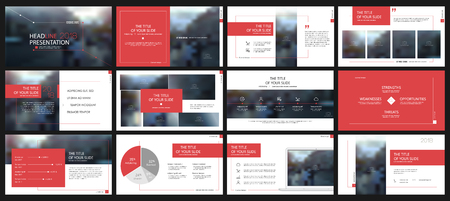Red presentation templates elements on a white background. Vector infographics. Use in Presentation, flyer and leaflet, corporate report, marketing, advertising, annual report, banner. Vectores