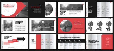 Elementos de plantillas de presentación sobre un fondo blanco. Infografía de vector. Uso en Presentación, folleto y folleto, informe corporativo, marketing, publicidad, informe anual, banner.