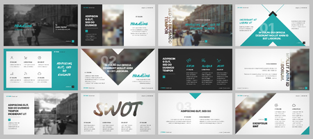 Presentation templates elements on a white background. Vector infographics. Use in Presentation, flyer and leaflet, corporate report, marketing, advertising, annual report, banner. Vettoriali