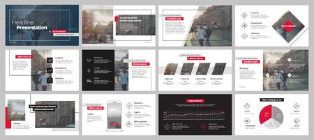 Elementos de modelos de apresentação em um fundo branco. Infografia de vetores. Uso em Apresentação, folheto e folheto, relatório corporativo, marketing, publicidade, relatório anual, banner. Ilustración de vector