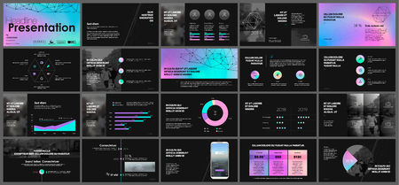 Tri fold Business Brochure. Creative corporate business template for try fold brochure. Layout with modern elements and abstract green purple chameleon background. 矢量图像
