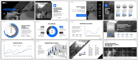 白い背景にインフォグラフィックスの青い要素。プレゼンテーション テンプレート。プレゼンテーション、チラシ、リーフレット、企業レポート、  イラスト・ベクター素材