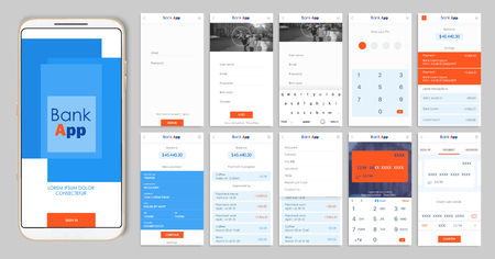 Design of the mobile app UI, UX. A set of GUI screens for mobile banking with login and password input, home page, payment information, ratings and statistics, settings, payment screens and bank cards Illustration