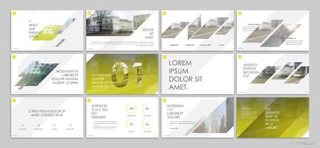 Yellow presentation templates elements on a white background. 版權商用圖片