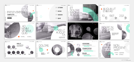 Modèle de présentation. Éléments géométriques verts pour présentations de diapositives sur fond blanc.