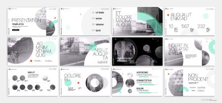 Modello di presentazione. Elementi geometrici verdi per presentazioni di diapositive su sfondo bianco.