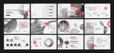 Presentation template. Red geometric elements for slide presentations on a white background.