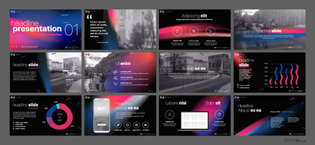 Presentation template. Gradient elements for slide presentations on a white background.  イラスト・ベクター素材