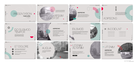 Presentation template. Round elements for slide presentations on a gray background.  イラスト・ベクター素材