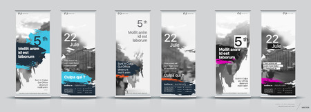 Set of templates with a design of vertical banners. Signboard Advertising Brochure Flyer Template Vector X-banner and Street Business Flag of Convenience, Layout Background Illustration