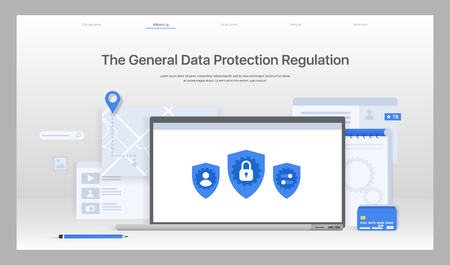 The General Data Protection Regulation. Exchange design flat concept. Technology web, internet information data integration and transforming. Data provision. Vector Imagens