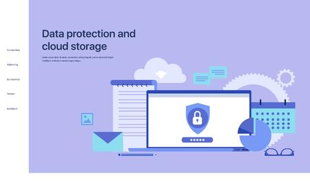 Protección de datos y almacenamiento en la nube. Diseño de la página principal del sitio. Ilustración vectorial para sitios web, creación de páginas en aplicaciones móviles y presentaciones.