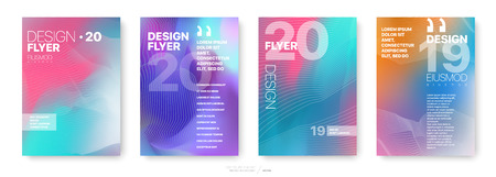 Covers templates set with graphic geometric elements. Applicable for flyer, cover annual report, placards, brochures, posters, banners. Vector illustrations. Vectores