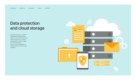 Data protection and cloud storage. Design of the main page of the site. Vector illustration for web sites, creating pages in mobile applications and presentations.
