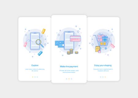 Mobile app intro screens. Application templates concept Vector onboarding illustration flat design Stock Illustratie
