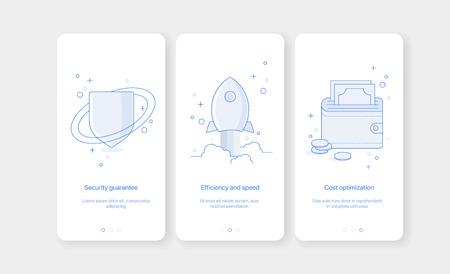 Mobile app intro screens. Application templates concept Vector onboarding illustration flat design Illustration