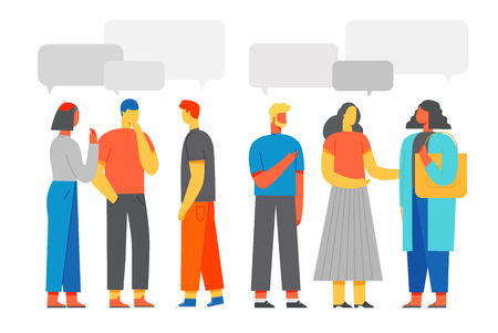 People discuss social network, news, social networks, chat, learning foreign languages. Vector illustration Flat style.