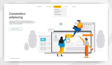 Les employés de bureau étudient l'infographie, le concept moderne pour les bannières Web, les sites Web, les produits imprimés, la rédaction de curriculum vitae, l'embauche d'employés. Illustration vectorielle