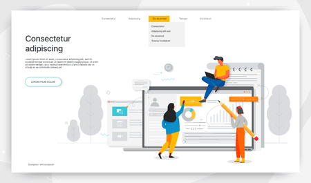 Pracownicy biurowi studiują infografikę, nowoczesną koncepcję banerów internetowych, stron internetowych, produktów drukowanych, wypełniania życiorysów, zatrudniania pracowników. Ilustracja wektorowa