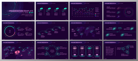 Presentation template. Gradient neon elements for slide presentations on a purple background. Use also as a flyer, brochure, corporate report, marketing, advertising, annual report, banner. Vector