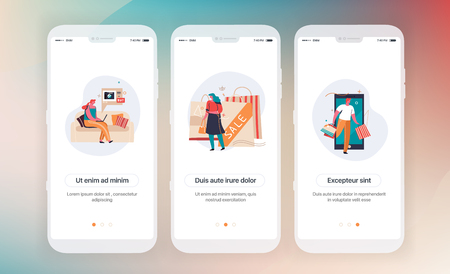 Online shopping. Design of mobile application intro screens. Application templates concept Vector onboarding illustration flat design