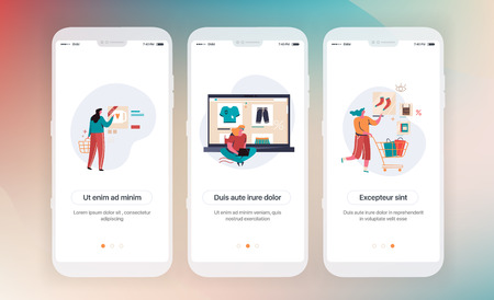 Online shopping. Design of mobile application intro screens. Application templates concept Vector onboarding illustration flat design Vetores