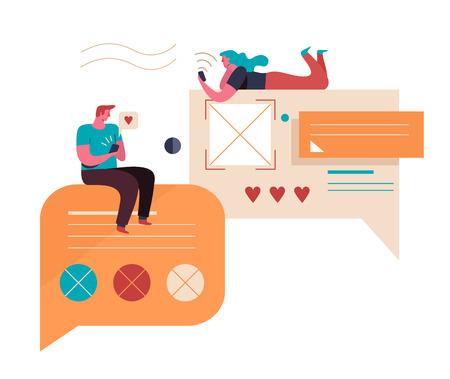 Jugendliche kommunizieren im Internet. Virtuelle Beziehungen. Vektor-Illustration