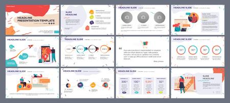 Plantilla de presentación, diapositivas con ilustraciones e infografías en colores vivos. Elementos gráficos vectoriales para informes, marketing, presentación de productos, proyectos y servicios.