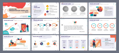 Presentation template, slides with illustrations and infographics in bright colors. Vector graphic elements for reports, marketing, product presentation, projects and services.