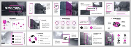 Präsentationsvorlage. Lila Elemente für Folienpräsentationen auf weißem Hintergrund. Verwendung auch als Flyer, Broschüre, Geschäftsbericht, Marketing, Werbung, Jahresbericht, Banner.