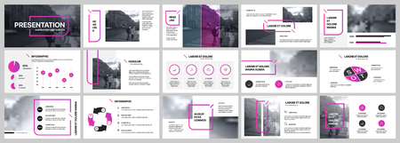 Presentation template. Purple elements for slide presentations on a white background. Use also as a flyer, brochure, corporate report, marketing, advertising, annual report, banner.