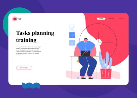 Effective time management. Scene with efficient and effective time management and multitasking at work. Successful organization of their tasks. Flat cartoon vector illustration.