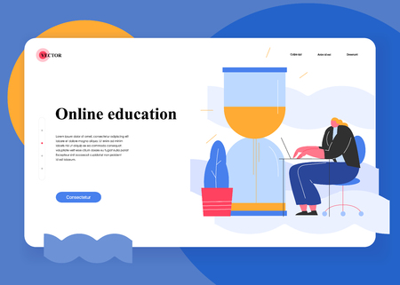 Online education. Scene with efficient and effective time management and multitasking at work. Successful organization of their tasks. Flat cartoon vector illustration.