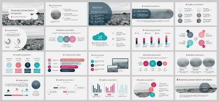 Presentation template, minimalist infographic elements on white background. Ilustração