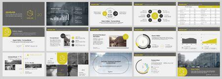 Modello di presentazione, elementi infografici gialli e neri su sfondo bianco. Modello di diapositiva vettoriale per presentazioni di progetti aziendali e marketing. Vettoriali