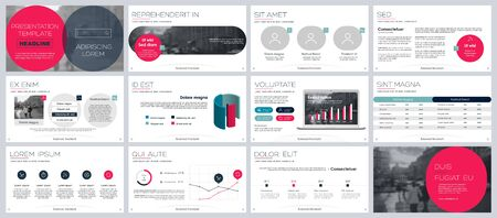 Presentation template, red and black infographic elements on white background. Vector slide template for business project presentations and marketing.