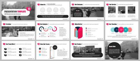 Modello di presentazione, elementi infografici minimalisti rossi su sfondo bianco. Modello di diapositiva vettoriale per presentazioni di progetti aziendali e marketing.