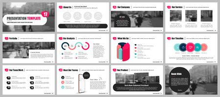 Presentation template, red minimalist infographic elements on white background. Vector slide template for business project presentations and marketing.