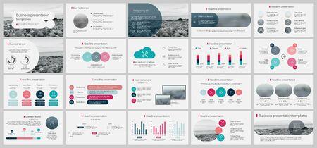 Modèle de présentation, éléments infographiques minimalistes sur fond blanc. Modèle de diapositive vectorielle pour les présentations de projets d'entreprise et le marketing. Vecteurs