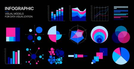 Editable Infographic Templates. Use in corporate report, marketing, annual report. Network management data screen with charts, diagrams. Data Visualization Vector Ilustracja