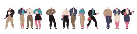 Corporate Business People Flat Character Collection. Group of Businessman and Businesswoman Characters Chatting Using Smartphone. Virtual Communication Concept. Vector Illustration