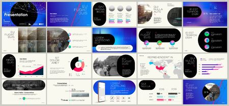 Presentation template, blue minimalist infographic elements on white background. Vector slide template for business project presentations and marketing. 스톡 콘텐츠 - 143790464
