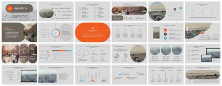 Presentation template, orange minimalist infographic elements on white background. Vector slide template for business project presentations and marketing. 스톡 콘텐츠 - 143790550