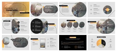 Presentation template, yellow minimalist infographic elements on white background. Vector slide template for business project presentations and marketing. Ilustracja
