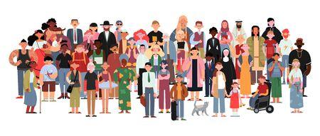 Personnes multiculturelles et multiraciales socialement diverses sur fond blanc isolé. Heureux jeunes et vieilles femmes et hommes avec enfants, ainsi que des personnes handicapées debout ensemble.