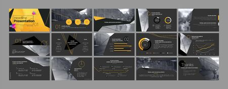 Presentation template, orange and black infographic elements. Vector slide template for business project presentations and marketing.
