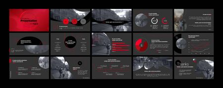 Presentation template, red and black infographic elements. Vector slide template for business project presentations and marketing.
